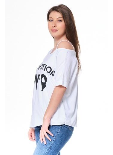 Elif İç Giyim Kadın Love Potıon Kayık Yaka Baskılı Beyaz Tişört Beyaz